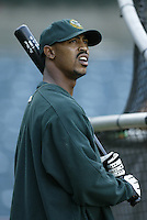 Terrence Long of the Oakland Athletics before a 2002 MLB season game against the Los Angeles Angels at Angel Stadium, in Anaheim, California. (Larry Goren/Four Seam Images)