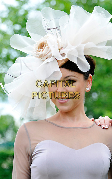 Lisa Scott-Lee  .The Royal Ascot racing event, Day 2, Ascot Racecourse, Ascot, Berkshire, England..June 20th, 2012.headshot portrait  grey gray sheer hat white purple lilac.CAP/WIZ.© Wizard/Capital Pictures.