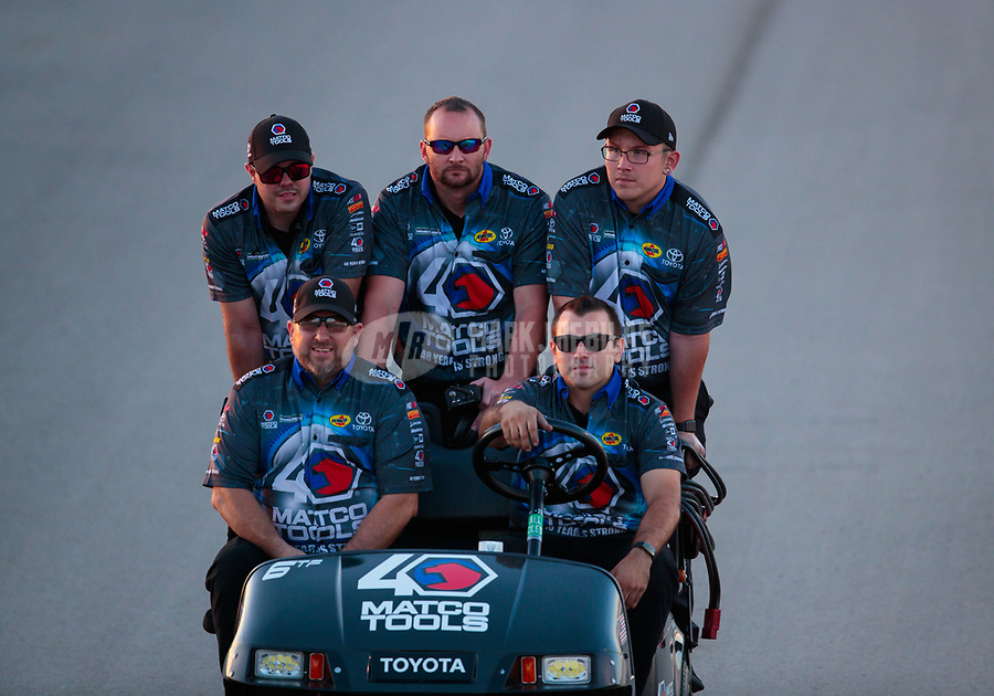 Jun 7, 2019; Topeka, KS, USA; Crew members for NHRA top fuel driver Antron Brown during qualifying for the Heartland Nationals at Heartland Motorsports Park. Mandatory Credit: Mark J. Rebilas-USA TODAY Sports