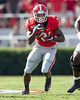 ATHENS, GA - SEPTEMBER 7: Zamir White #3 runs through a hole during a game between Murray State Racers and University of Georgia Bulldogs at Sanford Stadium on September 7, 2019 in Athens, Georgia.