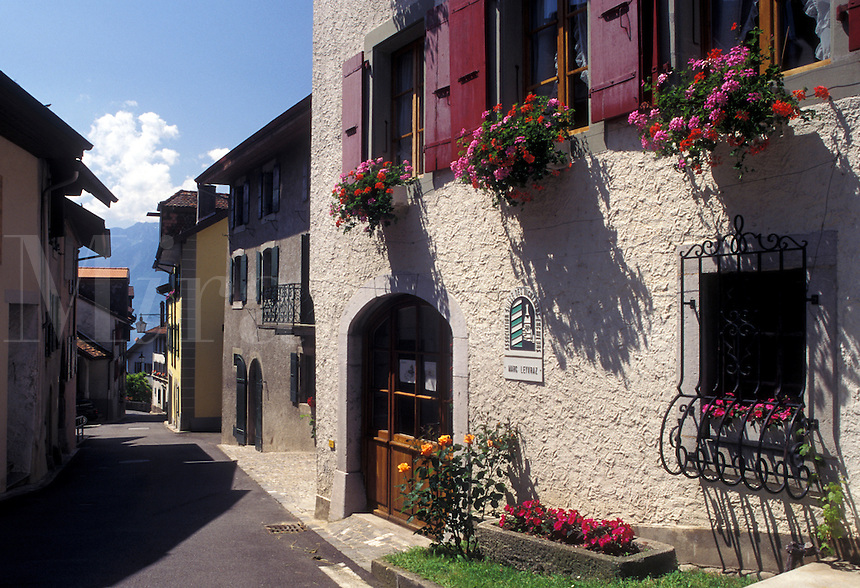 Switzerland, Vaud, Lavaux, Lake Geneva, Alps, Picturesque wine village of Rivaz in the Canton of Vaud.