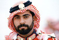 Military guard in ceremonial uniform with keffiyeh for VIP arrival at Dubai International airport