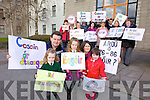 "Parents and teachers from Scoil Naoimh Eoin Baste, Lispole gathered to protest at Kerry County Council on Monday morning over eduction cuts which will directly affect their children... Pictured  from l-r were: Thomas Devane and Sharon Ni Shuilleabhain with children Sharon and Treacy McCormack and Aine Ni Dhubhda. Pictured at the back were: Josephine O'Shea, Mary O'Shea, Ailish Moriarty, Kathleen Kennedy, Brenda Byrne, Fiona Ui Ainifein, John Long, Bernie Ui Chathain, Sean O'Luingh, Paudi O"" hAinifein and Yvonne Ui Mhainin."