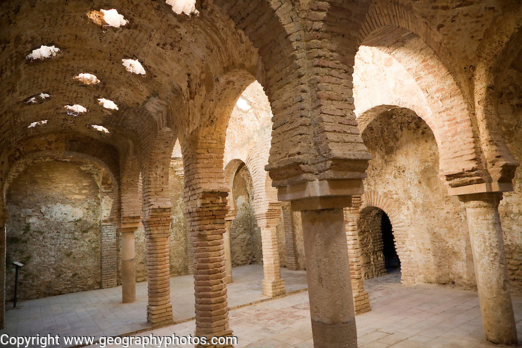 Star shaped skylights in vaulted roof of Arab Baths, Baños Árabes, Ronda, Spain