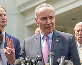 United States Senate Minority Leader Chuck Schumer (Democrat of New York) makes remarks as he and other Democratic members of the United States House and Senate speak to reporters at the White House in Washington, DC after meeting with US President Donald J. Trump on April 30, 2019.<br /> Credit: Ron Sachs / CNP
