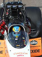 Feb 26, 2017; Chandler, AZ, USA; NHRA top fuel driver Clay Millican during the Arizona Nationals at Wild Horse Pass Motorsports Park. Mandatory Credit: Mark J. Rebilas-USA TODAY Sports