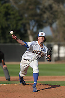 Shane Bieber (19) of the UC Santa Barbara Gauchos pitches during a game against the Kentucky Wildcats at Caesar Uyesaka Stadium on March 20, 2015 in Santa Barbara, California. UC Santa Barbara defeated Kentucky, 10-3. (Larry Goren/Four Seam Images)