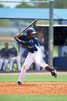 GCL Rays right fielder Pedro Diaz (9) at bat during the first game of a doubleheader against the GCL Twins on July 18, 2017 at Charlotte Sports Park in Port Charlotte, Florida.  GCL Twins defeated the GCL Rays 11-5 in a continuation of a game that was suspended on July 17th at CenturyLink Sports Complex in Fort Myers, Florida due to inclement weather.  (Mike Janes/Four Seam Images)