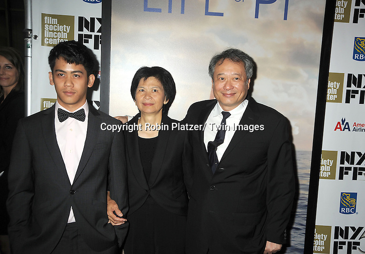 "director Ang Lee and family attends the 50th Annual New York Film Festival Opening Night Gala presentation of ""Life of Pi"" starring Suraj Sharma and directored by Ang Lee on September 28, 2012 in New York City. The screening was at Alice Tully Hall at Lincoln Center."