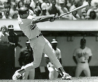 Mark McGuire homers for the A's 1988 file photo by .Ron Riesterer