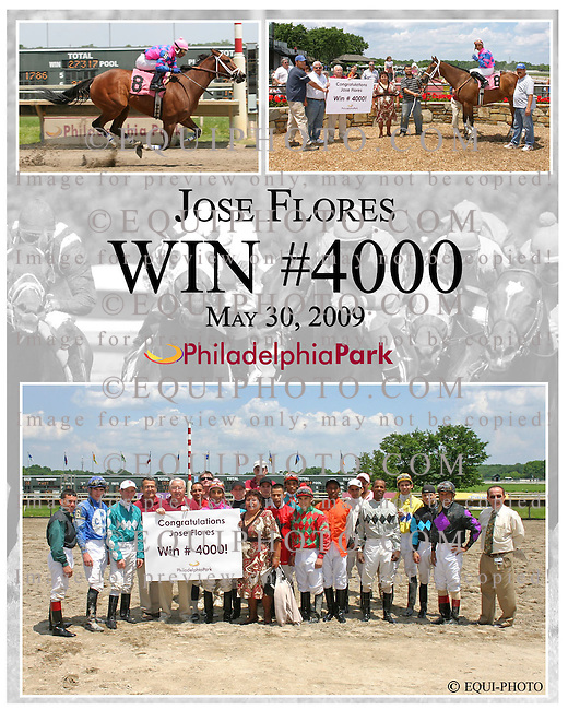Win #4,000 for Jose Flores on May 30, 2009 at Philadelphia Park in Bensalem, PA
