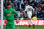 Real Madrid's Carlos Henrique Casemiro celebrates goal during La Liga match between Real Madrid and Girona FC at Santiago Bernabeu Stadium in Madrid, Spain. February 17, 2019. (ALTERPHOTOS/A. Perez Meca)