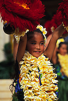 Hula performance by the keiki of Halau Hula O Hokulani for Lei Day at the Kapiolani Park Bandstand, Honolulu