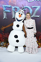 "LONDON, UK. November 17, 2019: Edith Bowman & Olaf arriving for the ""Frozen 2"" European premiere at the BFI South Bank, London.<br /> Picture: Steve Vas/Featureflash"