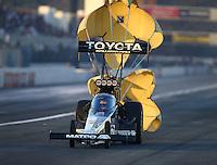 Feb 12, 2016; Pomona, CA, USA; NHRA top fuel driver Antron Brown during qualifying for the Winternationals at Auto Club Raceway at Pomona. Mandatory Credit: Mark J. Rebilas-USA TODAY Sports