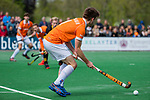 BLOEMENDAAL - Thierry Brinkman (Bldaal) tijdens de hoofdklasse competitiewedstrijd hockey heren,  Bloemendaal-Den Bosch (2-1). COPYRIGHT KOEN SUYK