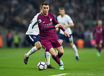 Aymeric Laporte of Manchester City is challenged by Christian Eriksen of Tottenham Hotspur during the premier league match at the Wembley Stadium, London. Picture date 14th April 2018. Picture credit should read: Robin Parker/Sportimage
