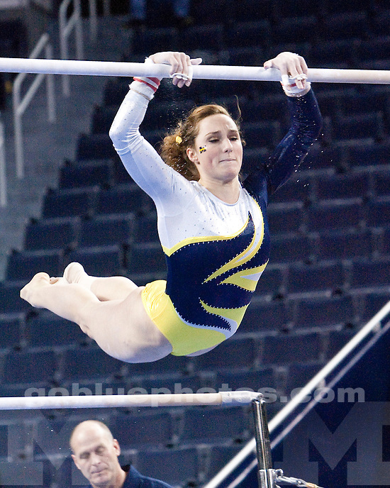 In the University of Michigan women's gymnastics annual Intrasquad meet, the Blue team beat the Maize team 9-7 at Crisler Arena in Ann Arbor, Mich., on December 9, 2011.