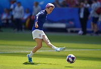 DECINES-CHARPIEU, FRANCE - JULY 07: Megan Rapinoe #15 warming up prior to the 2019 FIFA Women's World Cup France Final match between Netherlands and the United States at Groupama Stadium on July 07, 2019 in Decines-Charpieu, France.
