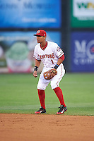 Harrisburg Senators second baseman Chris Bostick (1) during a game against the New Hampshire Fisher Cats on June 2, 2016 at FNB Field in Harrisburg, Pennsylvania.  New Hampshire defeated Harrisburg 2-1.  (Mike Janes/Four Seam Images)