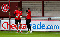 Fleetwood Town's Paul Jones and Alex Cairns warm up before the match<br /> <br /> Photographer Alex Dodd/CameraSport<br /> <br /> The EFL Checkatrade Trophy - Northern Group B - Fleetwood Town v Leicester City U21 - Tuesday September 11th 2018 - Highbury Stadium - Fleetwood<br />  <br /> World Copyright &copy; 2018 CameraSport. All rights reserved. 43 Linden Ave. Countesthorpe. Leicester. England. LE8 5PG - Tel: +44 (0) 116 277 4147 - admin@camerasport.com - www.camerasport.com
