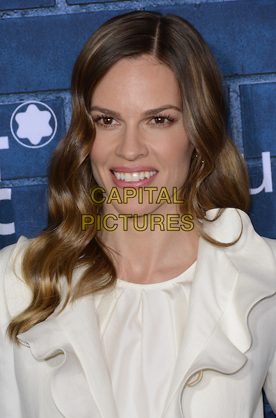 Hilary Swank.Montblanc Hosts Pre-Oscar Charity Brunch Benefiting UNICEF held at Hotel Bel-Air, Los Angeles, California, USA..February 23rd, 2013.headshot portrait white ruffle collar   .CAP/ADM/TW.©Tonya Wise/AdMedia/Capital Pictures