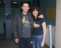BERKELEY, CA - Feb. 18, 2017: Cal's Dillon Williams with his mother on Senior Day.  Cal Men's Swimming and Diving competed against Stanford at Spieker Aquatics Complex.