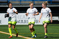 Seattle, WA - Sunday, April 17, 2016: Seattle Reign FC defender Elli Reed (7) and teammates during warm-ups. Sky Blue FC defeated the Seattle Reign FC 2-1 during a National Women's Soccer League (NWSL) match at Memorial Stadium.