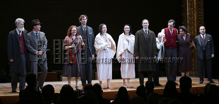 Tom Nelis, Matt Darriau, Lisa Gutkin, Aaron Halva, Adina Verson, Katrina Lenk, Richard Topal, Paula Vogel, Max Gordon Moore, Mimi Lieber and Steven Rattazzi during the Broadway Opening Night Performance Curtain Call Bows for  'Indecent' at The Cort Theatre on April 18, 2017 in New York City.