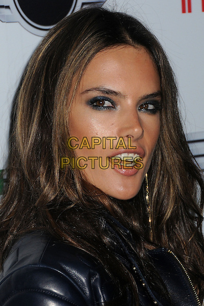 Alessandra Ambrosio.Warner Music Group 2013 Grammy Celebration held at The Chateau Marmont, West Hollywood, California, USA..February 10th, 2013.headshot portrait mouth open eyeliner eyeshadow make-up beauty black leather jacket  .CAP/ADM/BP.©Byron Purvis/AdMedia/Capital Pictures.
