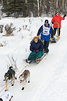 Lance Mackey w/Iditarider on Trail 2005 Iditarod Ceremonial Start near Campbell Airstrip Alaska SC