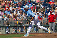 North Carolina pitcher Chris Munnelly (37) delivers a pitch to the plate during Game 3 of the 2013 Men's College World Series against the North Carolina State Wolfpack at TD Ameritrade Park on June 16, 2013 in Omaha, Nebraska. The Wolfpack defeated the Tar Heels 8-1. (Andrew Woolley/Four Seam Images)