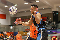 NZ Men's Kruze Tangira loses the ball during the Cadbury Netball Series match between NZ Men and All Stars at the Bruce Pullman Arena in Papakura, New Zealand on Friday, 28 June 2019. Photo: Dave Lintott / lintottphoto.co.nz