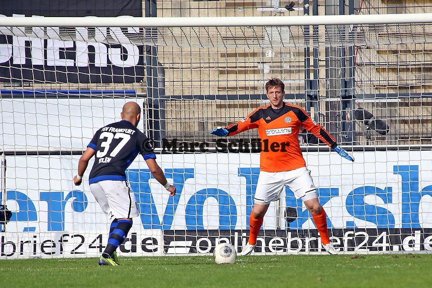 Zafer Yelen (FSV) scheitert per Elfmeter an Jasmin Fejzic (Aalen) - FSV Frankfurt vs. VfR Aalen, Frankfurter Volksbank Stadion