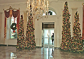 Washington, DC - December 4, 2000 -- Christmas trees flank the door leading out to the North Portico of the White House in Washington, D.C. on December 4, 2000..Credit: Ron Sachs - CNP