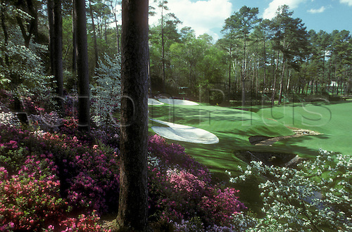 Augusta Golf Course Hole Number 13. The Augusta National Golf Club, located in Augusta, Georgia was founded by Bobby Jones and Clifford Roberts on the site of a former indigo plantation, the course was designed by Jones and Alister MacKenzie