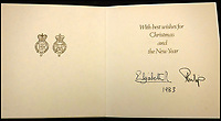 BNPS.co.uk (01202 558833)<br /> Pic: MooreAllen&amp;Innocent/BNPS<br /> <br /> The Queen and Prince Philip's 1983 card.<br /> <br /> A comprehensive collection of Christmas cards sent by the Queen and Prince Philip over a 30 year period have emerged to highlight the fascinating changes of the Royal Family.<br /> <br /> The 31 greetings cards carry various images of the Royal couple on the front along with different members of their family.<br /> <br /> They were sent every year without fail from 1971 through to 2001 to the unnamed recipient, who was clearly an acquaintance of the Queen.<br /> <br /> The first card features a formal photograph of the Queen, the Duke of Edinburgh, a 23-year-old Prince Charles, Princess Anne, Prince Andrew, aged 11 and seven-year-old Prince Edward.<br /> <br /> They are being sold in Cirencester on Friday.