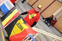 SPEEDSKATING: BERLIN: Sportforum Berlin, 28-01-2017, ISU World Cup, supporter Belgium, ©photo Martin de Jong
