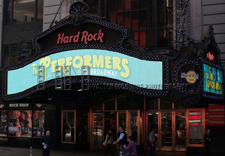 """Cast and creators of the new Broadway play """"The Performers"""" at the Hard Rock Cafe on Tuesday, Sept. 25, 2012 in New York."""