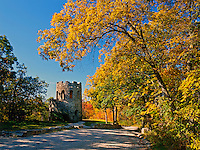 USA, Iowa, Clark's Tower is a viewing platform for the Middle River Valley  located in Winterset City Park in Madison County