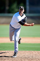 Chicago White Sox minor league pitcher Storm Throne #58 during an instructional league game against the Los Angeles Dodgers at the Camelback Training Complex on October 9, 2012 in Glendale, Arizona.  (Mike Janes/Four Seam Images)