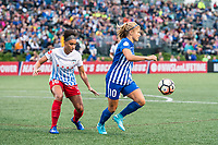 Boston, MA - Friday July 07, 2017: Samantha Johnson and Rosie White during a regular season National Women's Soccer League (NWSL) match between the Boston Breakers and the Chicago Red Stars at Jordan Field.