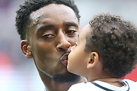 Leroy Fer of Swansea City with his son Ace prior to kick off of the Premier League match between Swansea City and Newcastle United at The Liberty Stadium, Swansea, Wales, UK. Sunday 10 September 2017