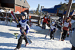 Davis High School Ski Team heads to practice at Northstar ski resort on Lake Tahoe, CA