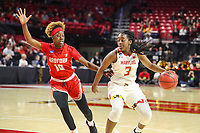 College Park, MD - March 23, 2019: Maryland Terrapins guard Channise Lewis (3) is guarded by Radford Highlanders guard Destinee Walker (10) during game between Radford and Maryland at  Xfinity Center in College Park, MD.  (Photo by Elliott Brown/Media Images International)