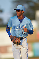 Burlington Royals right fielder Burle Dixon (12) jogs off the field between innings of the game against the Danville Braves at Burlington Athletic Stadium on August 9, 2019 in Burlington, North Carolina. The Royals defeated the Braves 6-0. (Brian Westerholt/Four Seam Images)