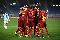 Patrik Schick of AS Roma celebrates with team mates after scoring a goal <br /> Roma 14-01-2019 Stadio Olimpico<br /> Football Calcio Coppa Italia 2018/2019 Round of 16  <br /> AS Roma - Virtus Entella<br /> Foto Gino Mancini / Insidefoto