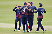 The Lancashire players celebrate with James Anderson following the run out of Holden during Middlesex vs Lancashire, Royal London One-Day Cup Cricket at Lord's Cricket Ground on 10th May 2019
