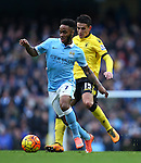 Raheem Sterling of Manchester City and Ashley Westwood of Aston Villa - Barclay's Premier League - Manchester City vs Aston Villa - Etihad Stadium - Manchester - 05/03/2016 Pic Philip Oldham/SportImage