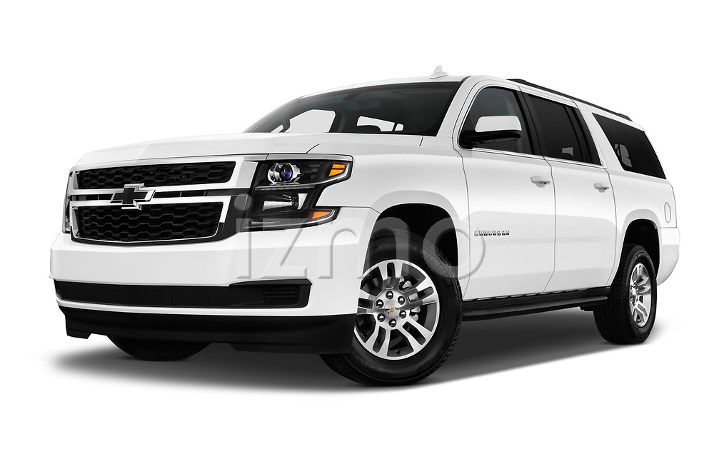 Stock pictures of low aggressive front three quarter view of 2017 Chevrolet Suburban LS 5 Door SUV Low Aggressive